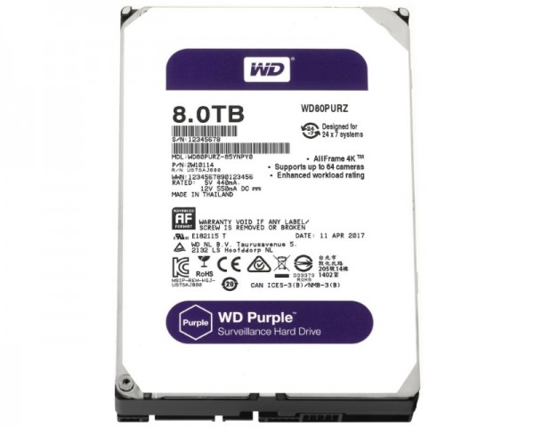 WD 8TB 3.5'' SATA III 128MB IntelliPower WD80PURZ Purple