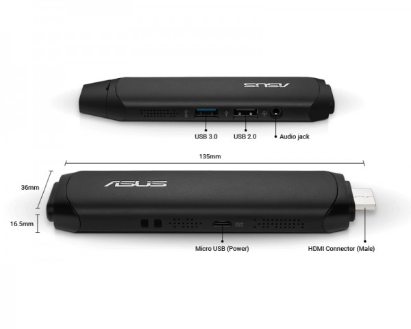 ASUS VivoStick TS10-B041D Intel Atom x5-Z8350 Quad Core 1.44GHz (1.92GHz) 2GB 32GB Windows 10 Home 64bit