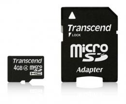 MICRO SD  4GB TRANSCEND + SD adapter TS4GUSDHC4