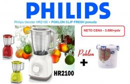 PHILIPS blender HR210000 + Clip Fresh činija , beli