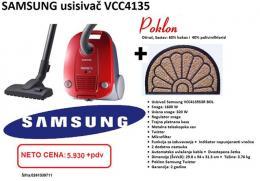 SAMSUNG usisivač VCC4135S3RBOL, 1600W+ OTIRAČ pulovalni cvet