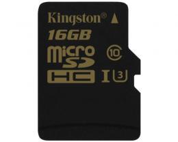 KINGSTON UHS-I U3 MicroSDHC 16GB Class U3 SDCG/16GBSP Gold