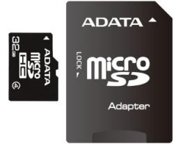 A-DATA MicroSDHC 32GB class 4 + adapter AUSDH32GCL4-RA1
