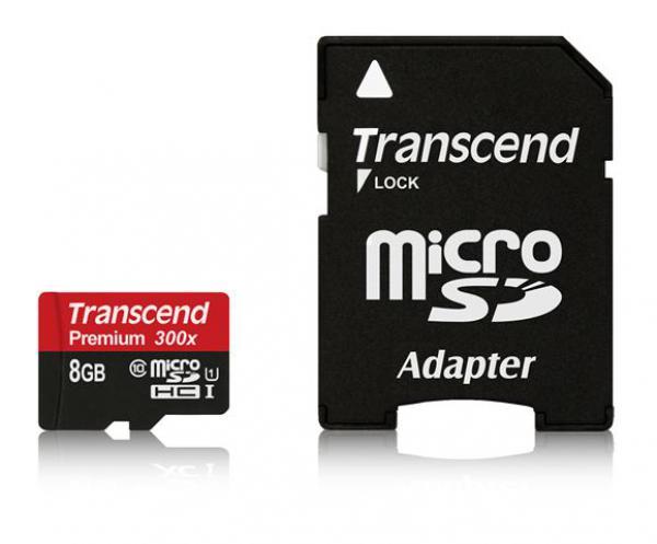 Memorijska kartica Transcend  SD MICRO 8GB HC Class 10 U1 + 1ad TS