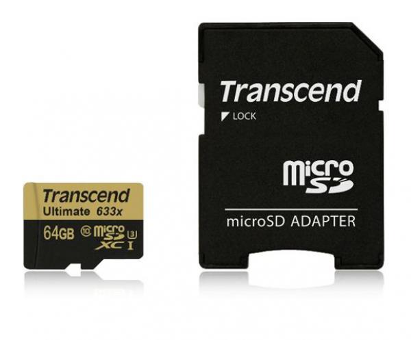 Mem. kartica Transcend SD MICRO 64GB HC UHS 1 U3 + SD adapter 633x