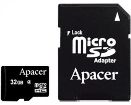 APACER MicroSDHC 32GB class 4 + adapter AP32GMCSH4-R