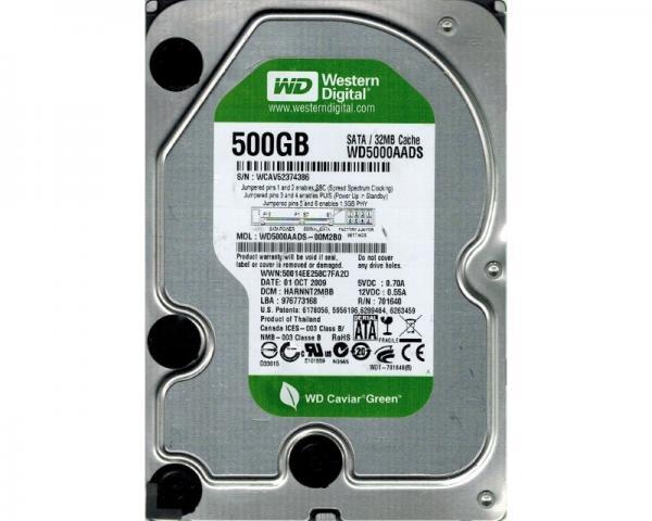 WD 500GB 3.5 SATA II 32MB 7.200 WD5000AADS Caviar Green +