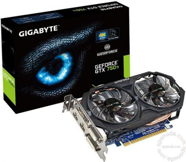 GigabyteNVD GTX 750Ti 2GB DDR5 128bit GV-N75TOC-2GI