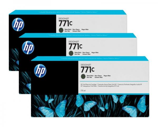 HP No. 771C 3-pack 775-ml Matte Black Designjet Ink Cartridges za Ploter Z6200 [B6Y31A]