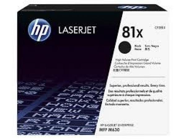 HP No. 81X High Yield  Black LJ Toner Cartridge MFP and All-in-One M630h, M630f, M630z CF281X