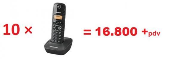 PANASONIC telefon KX-TG1611FXH crni  10 KOMADA