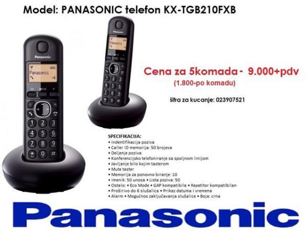 PANASONIC telefon KX-TGB210FXB crni  5KOMADA