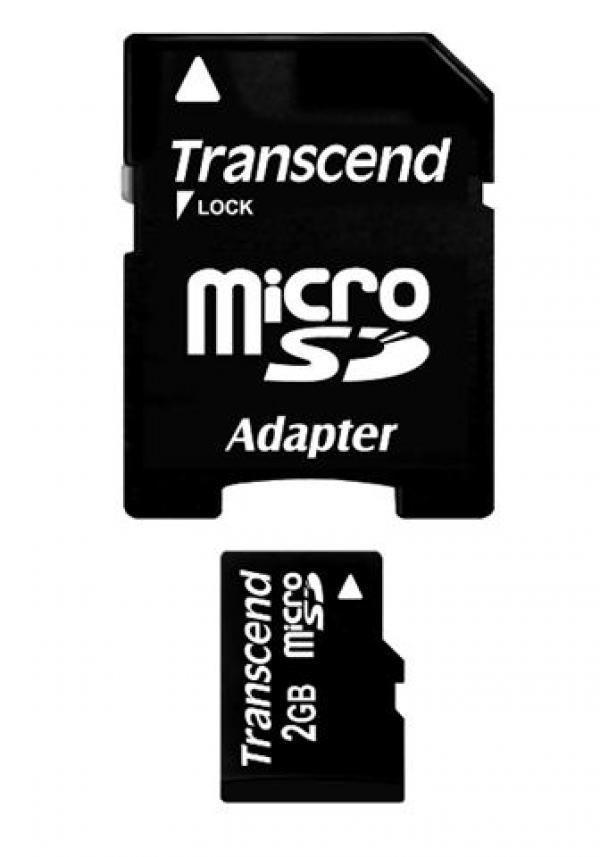 MICRO SD  2GB TRANSCEND + SD adapter TS2GUSD