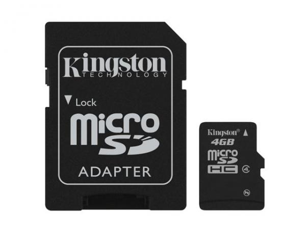 MICRO SD  4GB KINGSTON + SD adapter SDC44GB
