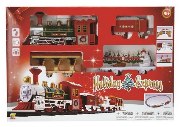 Vlak na baterije Holiday Express s 3 vagona, crveni