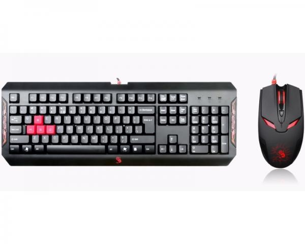 A4 TECH Q1100 Bloody Gaming USB US crna tastatura + USB crni miš