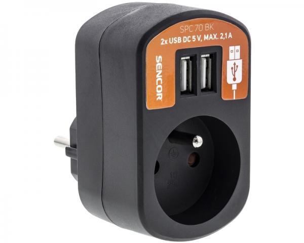 SENCOR SPC 70BK utičnica + USB punjač za mobilne telefone