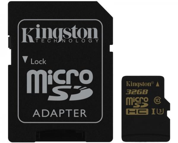 KINGSTON UHS-I U3 MicroSDHC 32GB class U3 + Adapter SDCG/32GB Gold