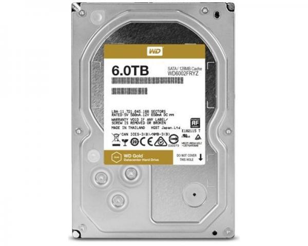 WD 6TB 3.5 SATA III 128MB 7.200rpm WD6002FRYZ Gold