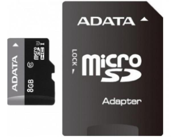 A-DATA UHS-I MicroSDHC 8GB class 10 + adapter AUSDH8GUICL10-RA1