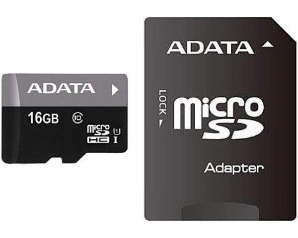 A-DATA UHS-I MicroSDHC 16GB class 10 + adapter AUSDH16GUICL10-RA1