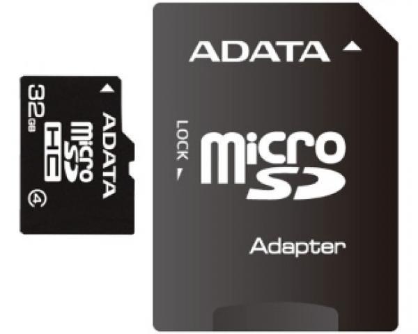 A-DATA MicroSDHC 32GB class 4 + adapter AUSDH32GCL4-RA1