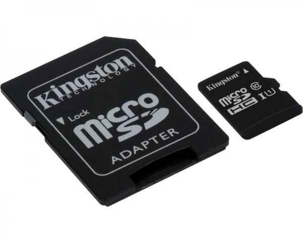 KINGSTON UHS-I MicroSDHC 16GB class 10 + adapter SDC10G2/16GB