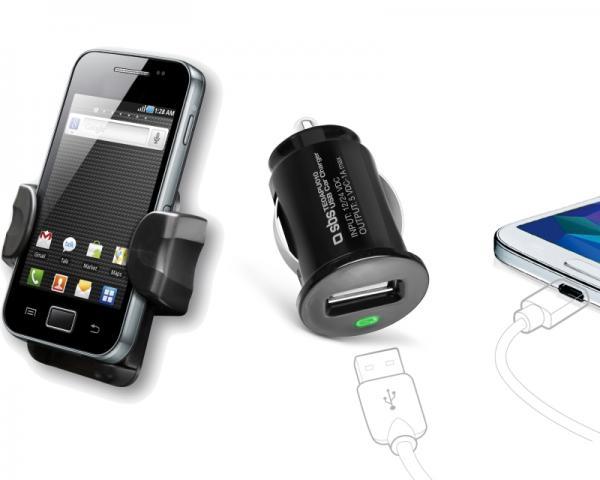 SBS Automobilski punjač USB 1000mAh + držač za mobilne uređaje crni TEKIT21HC