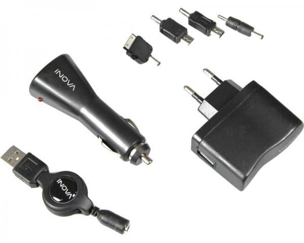 SBS Punjač USB + automobilski punjač USB + kabal + 4 adaptera crni IN0TMAU00