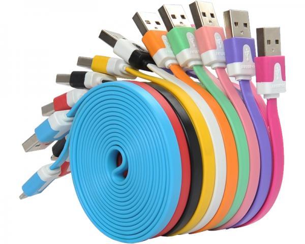 FAST ASIA Kabl USB A - USB Micro-B M/M 1m flat zeleni
