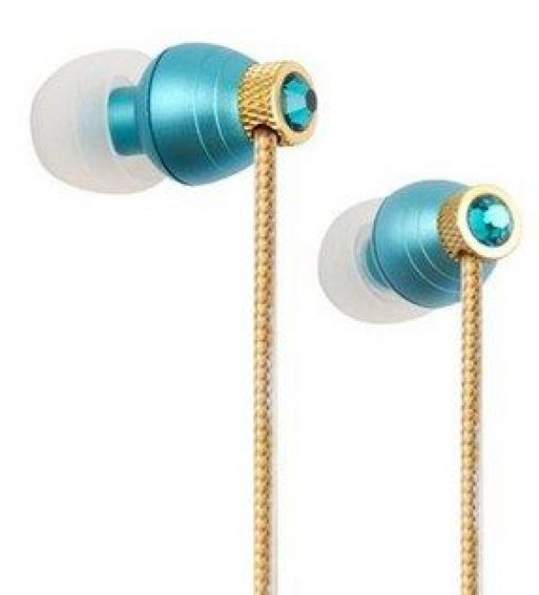 A4-iB-990T IBuds - Crystal Beats - Blue Zircon Made with Crystallized Swarovski elements