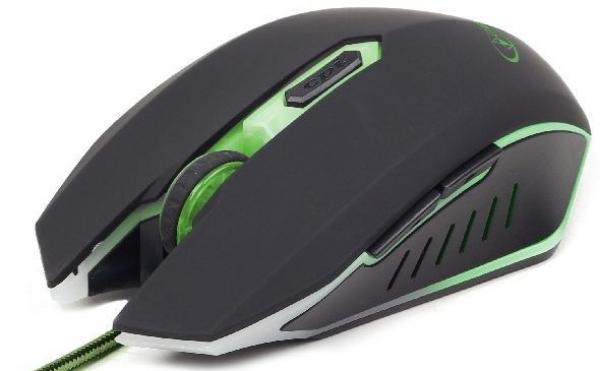 MUSG-001-G Gembird Gaming mis opticki illuminated green 400-2400Dpi black