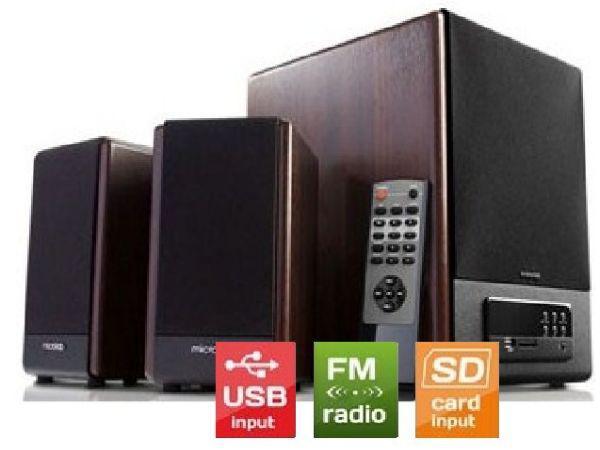 Microlab FC530U Aktivni drveni zvucnici 2.1  64W RMS(28W,2x18W) SD, USB, FM radio, 3.5mm,daljinski