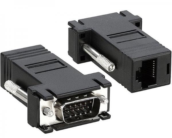 FAST ASIA Adapter VGA D-sub (M) - RJ-45 (F) crni