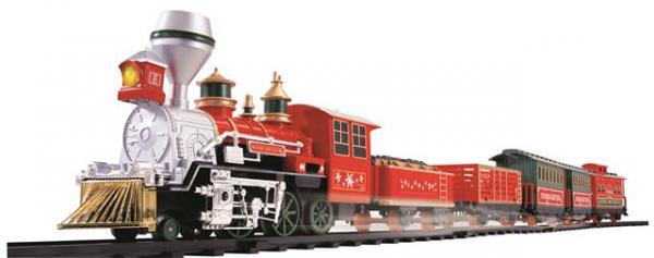 Voz na baterije Holiday Express sa crvenom lokomotivom i 5 vagona
